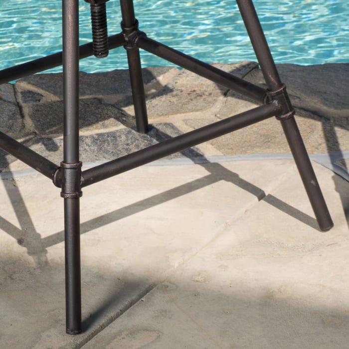 Black Pipe Adjustable Barstools Set of 2