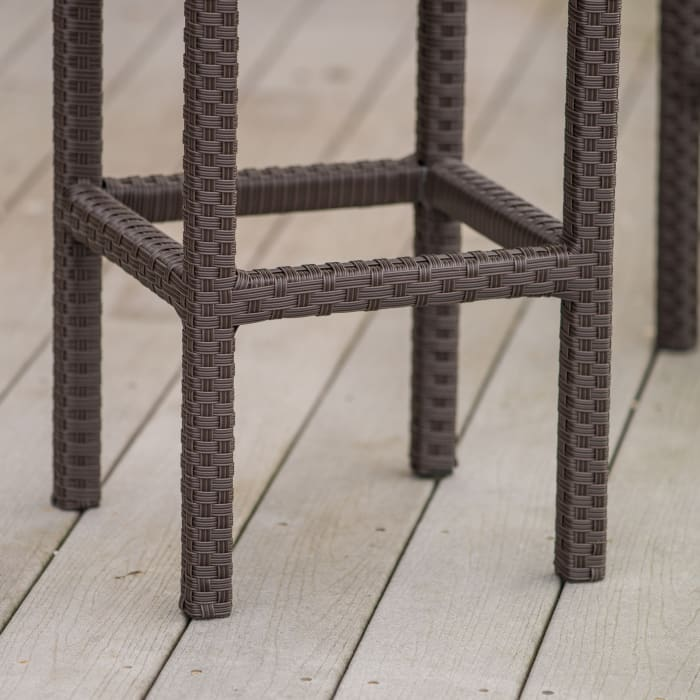 Brown Wicker Backless Bar Stools Set of 2