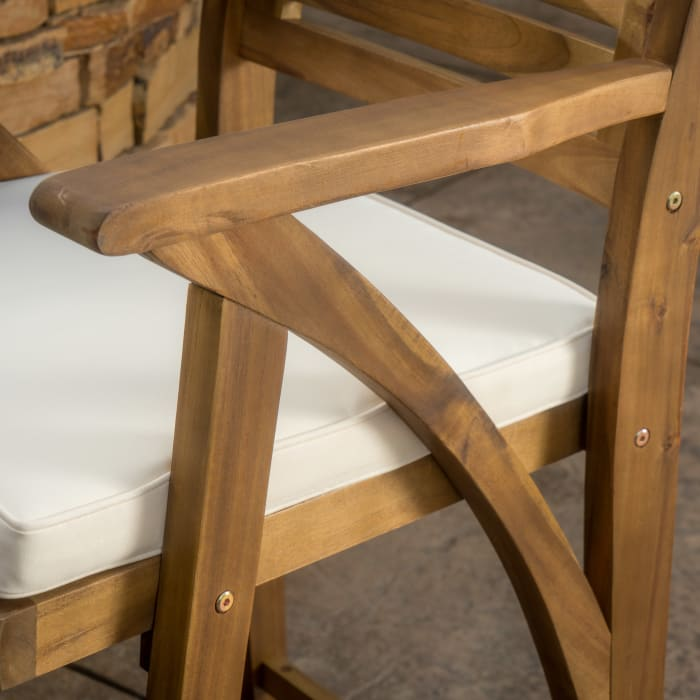 Teak Finish Acacia Wood Barstool Set of 2