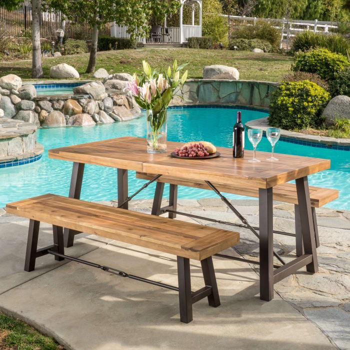 Teak Finish Acacia Wood 3-Piece Picnic Table