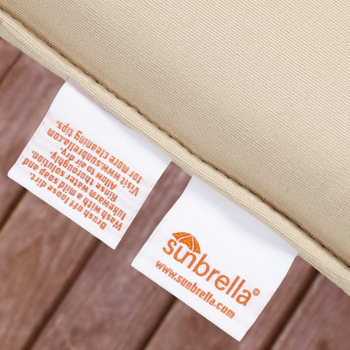 Sunbrella Dual Flange in Canvas Natural with Canvas Forest Green Outdoor Pillow