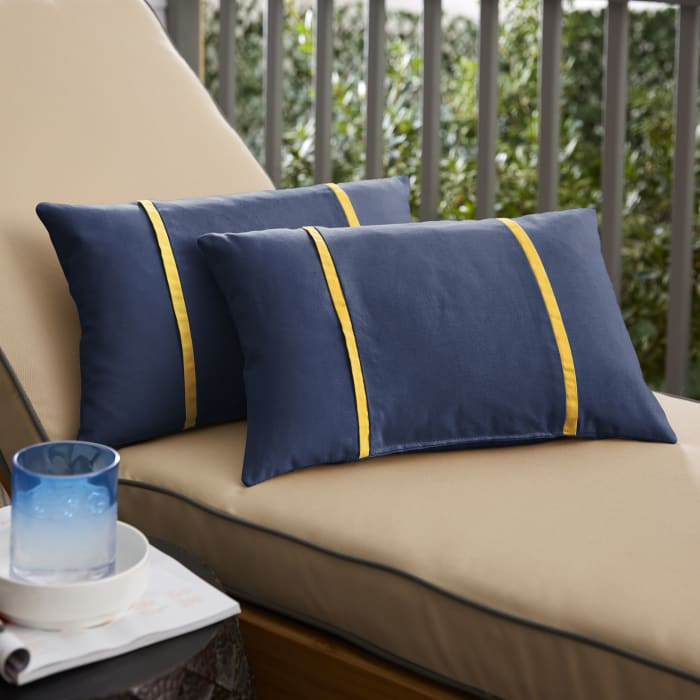 Sunbrella Dual Flange Set of 2 in Canvas Navy with Canvas Sunflower Yellow Outdoor Pillow