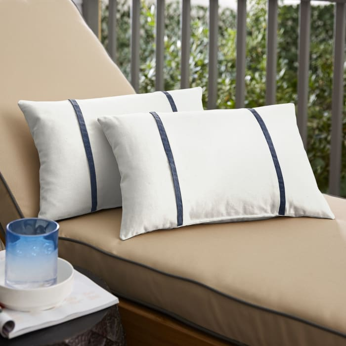 Sunbrella Dual Flange Set of 2 in Canvas Natural with Spectrum Indigo Outdoor Pillow