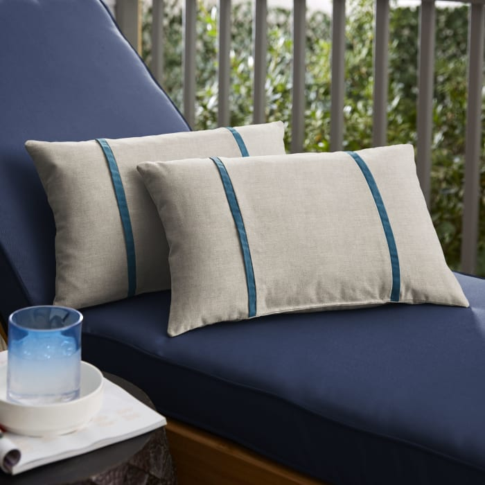 Sunbrella Dual Flange Set of 2 in Cast Silver with Spectrum Peacock Outdoor Pillow