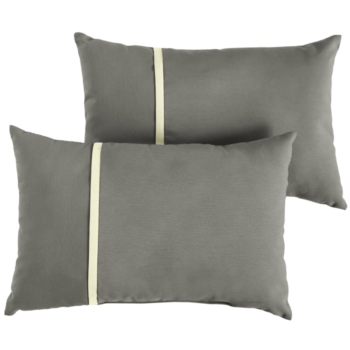 Sunbrella Flange Small Set of 2 in Canvas Charcoal with Canvas Natural Outdoor Pillow