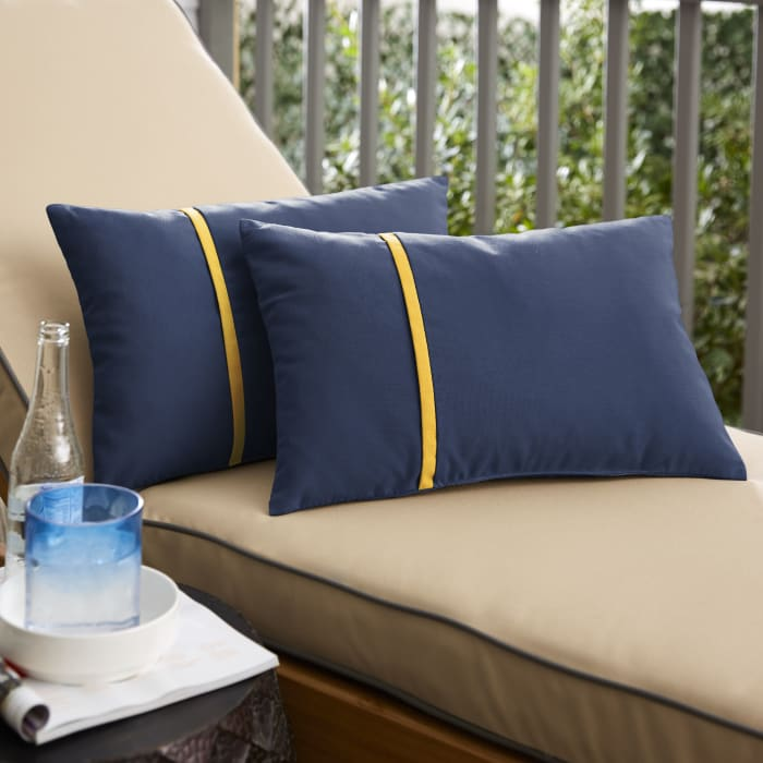 Sunbrella Flange Small Set of 2 in Canvas Navy with Canvas Sunflower Yellow Outdoor Pillow