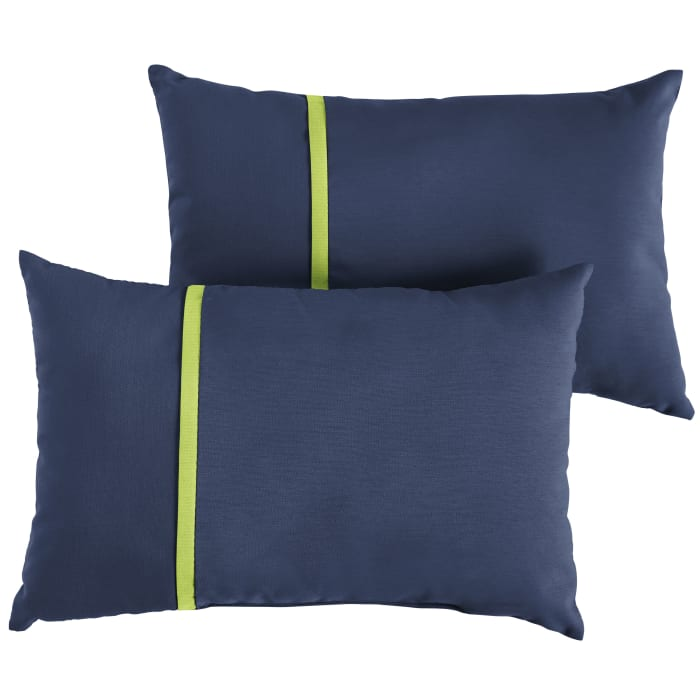 Sunbrella Flange Small Set of 2 in Canvas Navy with Canvas Macaw Outdoor Pillow