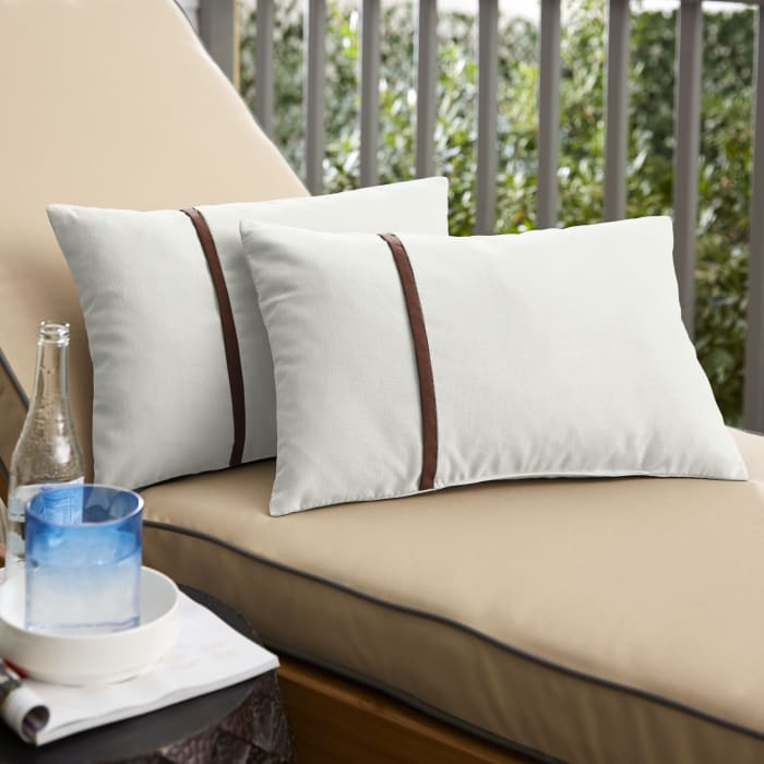 Sunbrella Flange Small Set of 2 in Canvas Natural with Canvas Bay Brown Outdoor Pillow