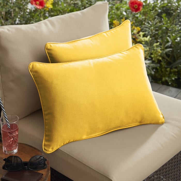 Sunbrella Corded Set of 2 in Canvas Sunflower Yellow Outdoor Pillow