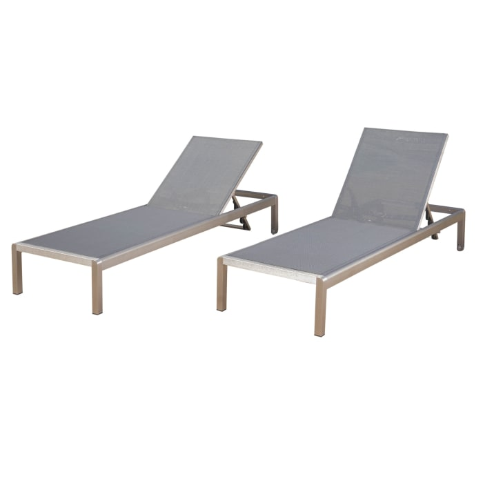Dark Gray Mesh Chaise Lounge Set of 2