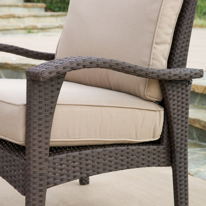 Brown 4-Piece Wicker Seating Set with Cushions