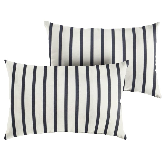 Sunbrella Knife Edge Set of 2 in Lido Indigo Outdoor Pillow