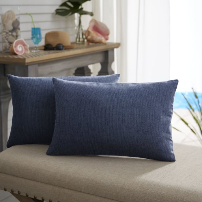 Sunbrella Knife Edge Set of 2 in Spectrum Indigo Outdoor Pillow
