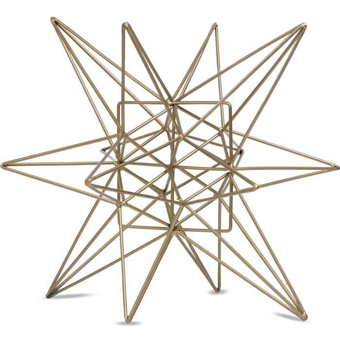 Large Gold Metal Table Top Star Figurine