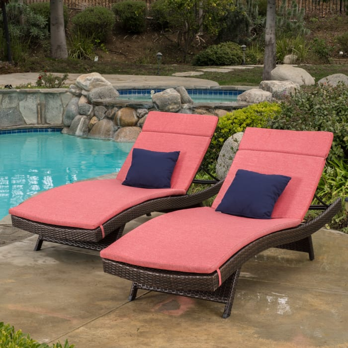 Brown Chaise Lounge with Red Cushion Set of 2