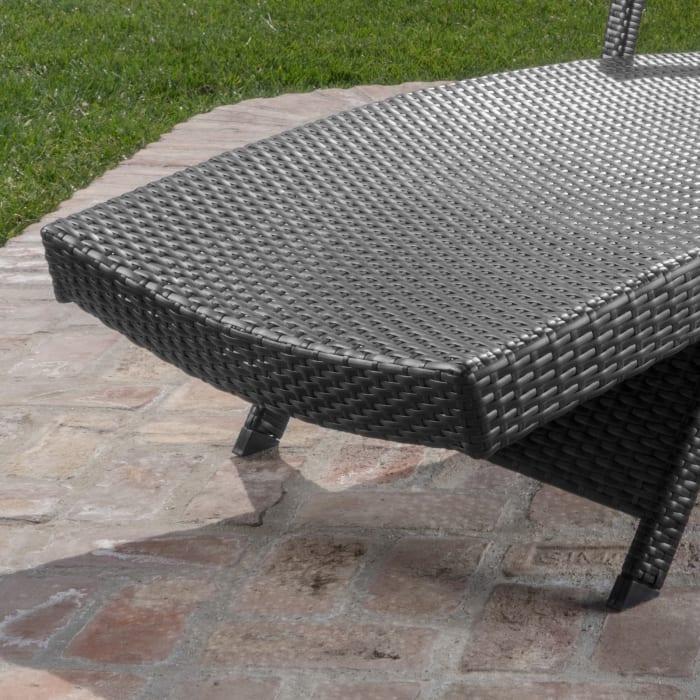 Gray Arm Chaise Lounge & Caramel Cushion