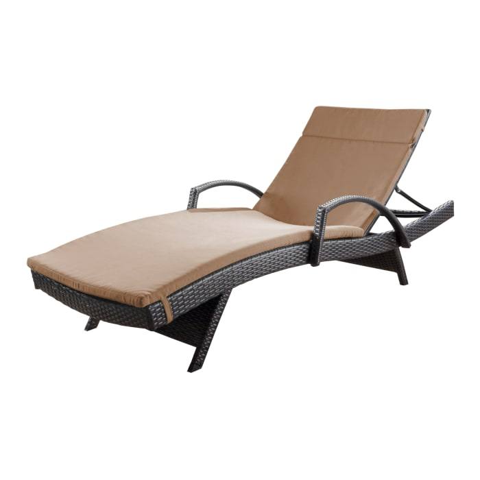 Chaise Lounge with Arms & Caramel Cushion