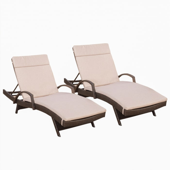 Armed Chaise Lounge with Cushions Set of 2