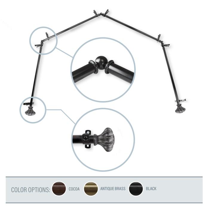 Clove Black 4-Sided Bay Window Curtain Rod