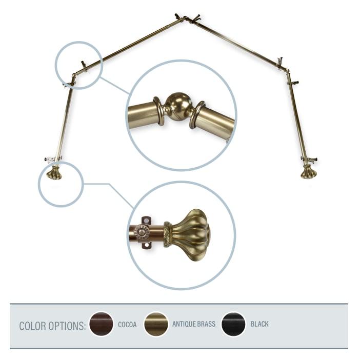 Clove Antique Brass 4-Sided Bay Window Curtain Rod