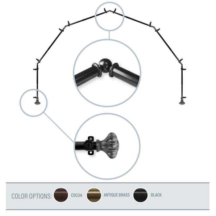 Clove Black 6-Sided Bay Window Curtain Rod