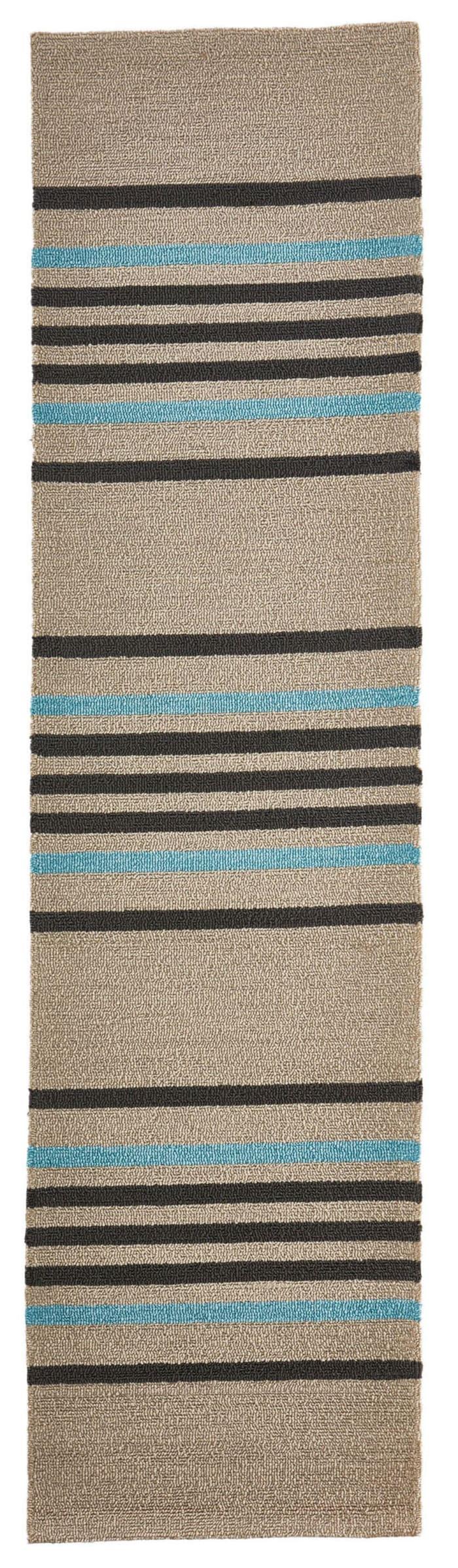 Brown & Blue Striped Runner 2' x 8'