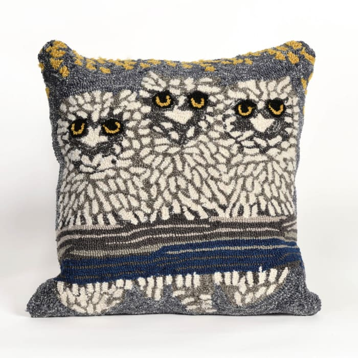 Front Porch Owls in Natural Outdoor Polyester Pillow