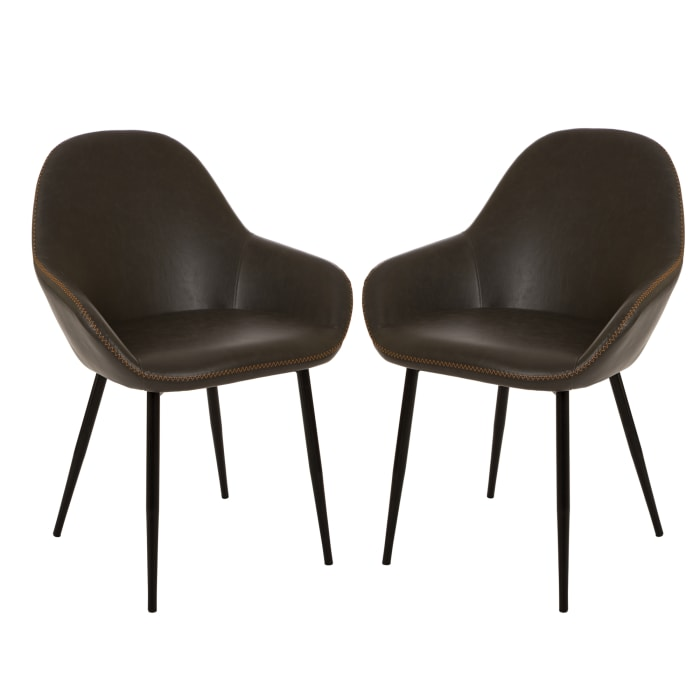 Gray Bonded Leather Dining Armchair Set of 2