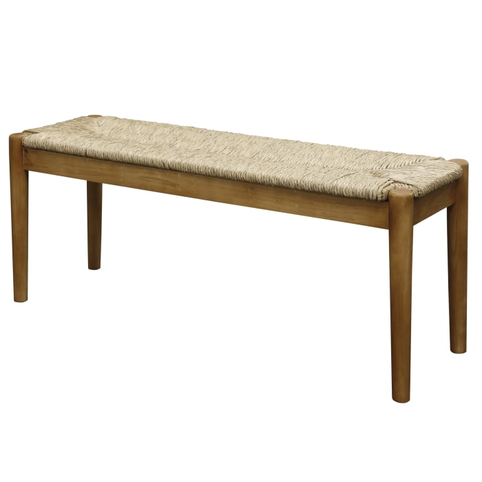 Large Seagrass Natural Beige Wood Bench with Round Legs
