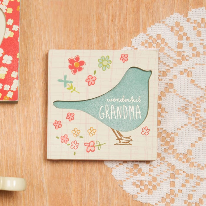 Wonderful Grandma Floral Bird Sign