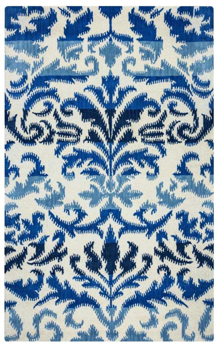 Blue & Ivory Ikat Wool Rug 0.75' x 1'