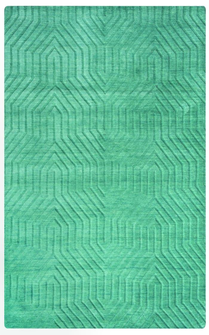 Solid Dark Teal Wool Rug 0.5' x 0.75'
