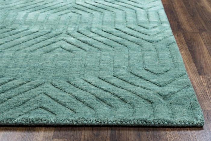Solid Dark Teal Wool Rug 0.25' x 0.5'