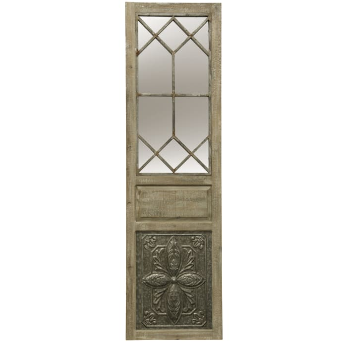 Large Natural Wood Mirror with Galvanized Metal Inlay