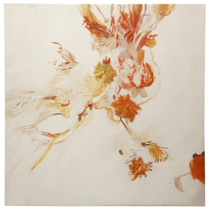 Apricot Floral Canvas Wall Art