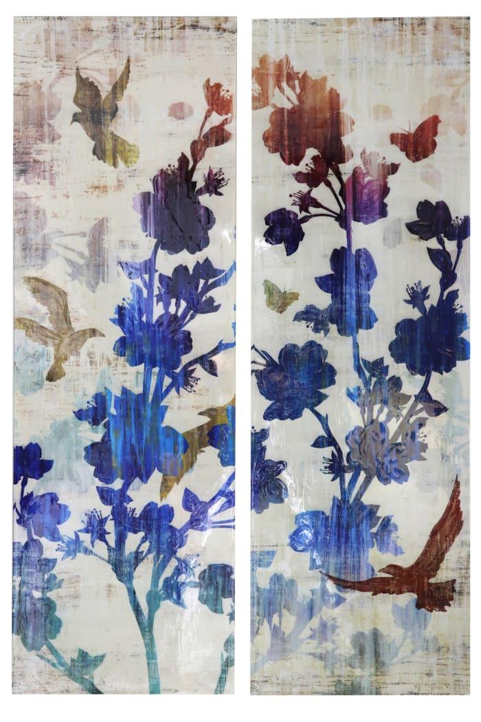 Flowers & Birds Canvas Wall Art 2-Piece Set