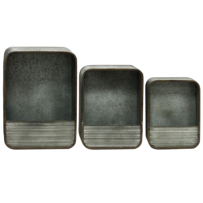 3-Piece Rectangular Gray Metal Wall Storage Set
