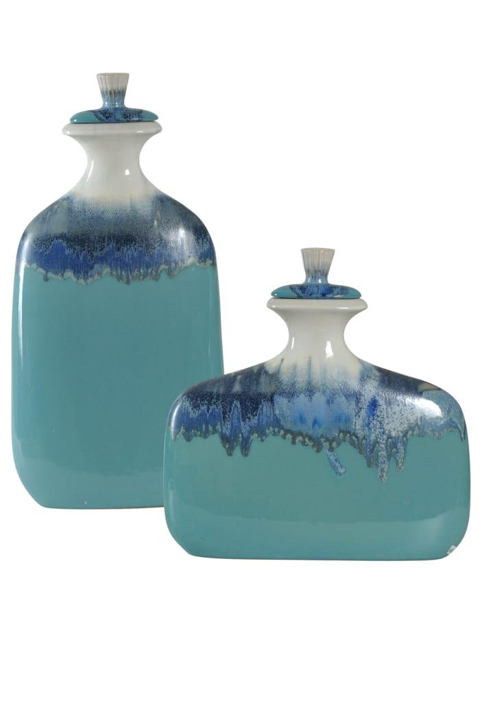 Blue Ombre Ceramic Jar with Lid 2-Piece Set