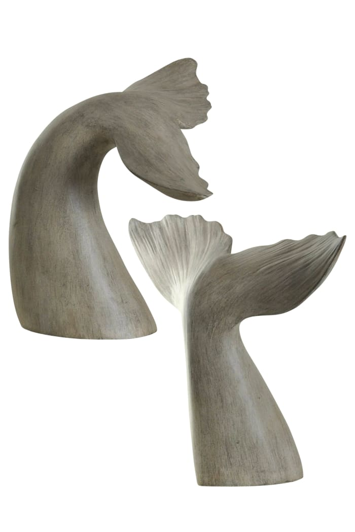 Gray Whale Tail Book End Set