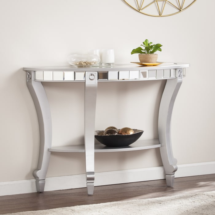 Mirrored Demilune Console Table