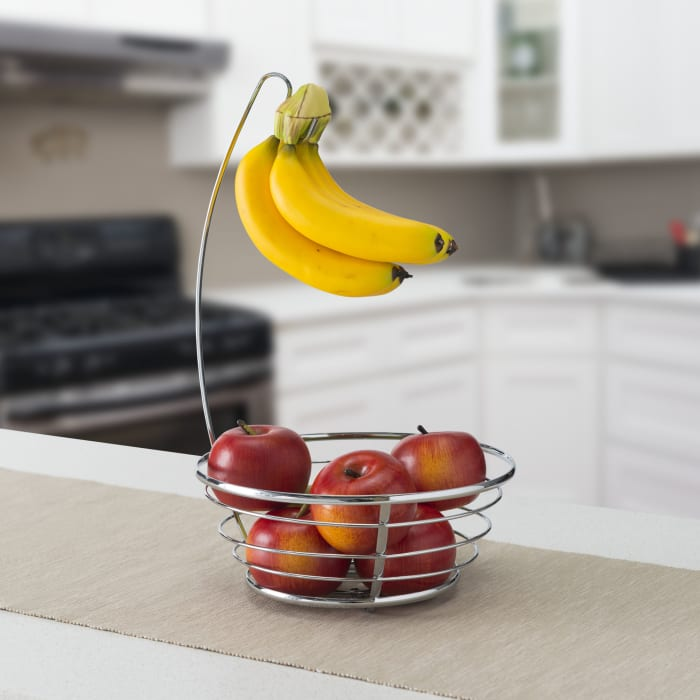 Chrome Plated Steel Fruit Basket with Banana Tree