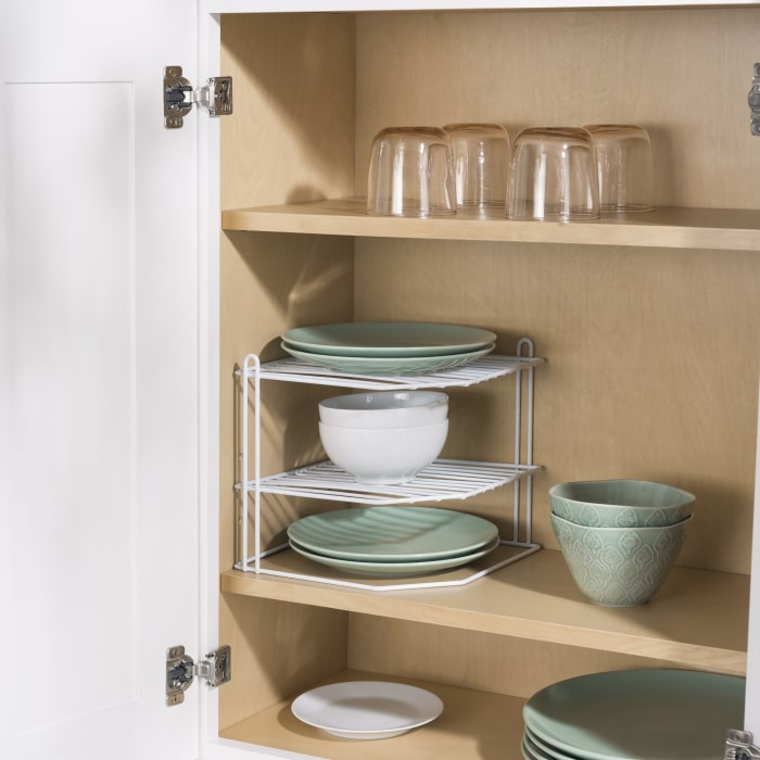 3 Tier White Vinyl Coated Steel Corner Organizing Storage Rack