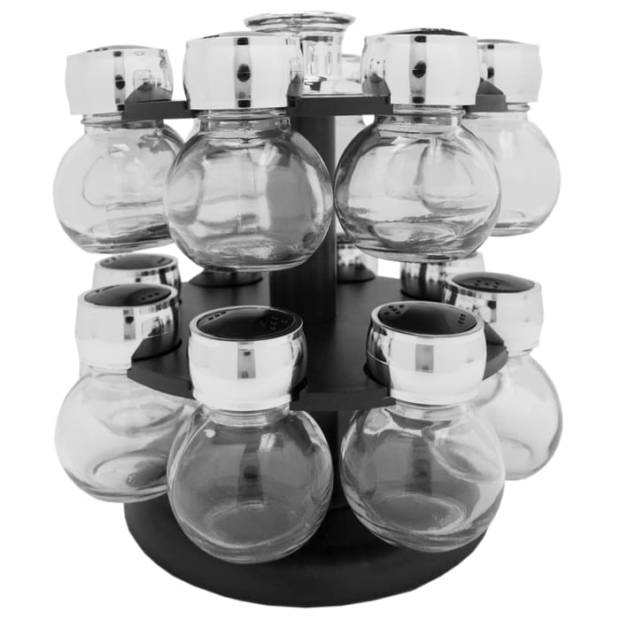 16 Piece Black Revolving Spice Rack