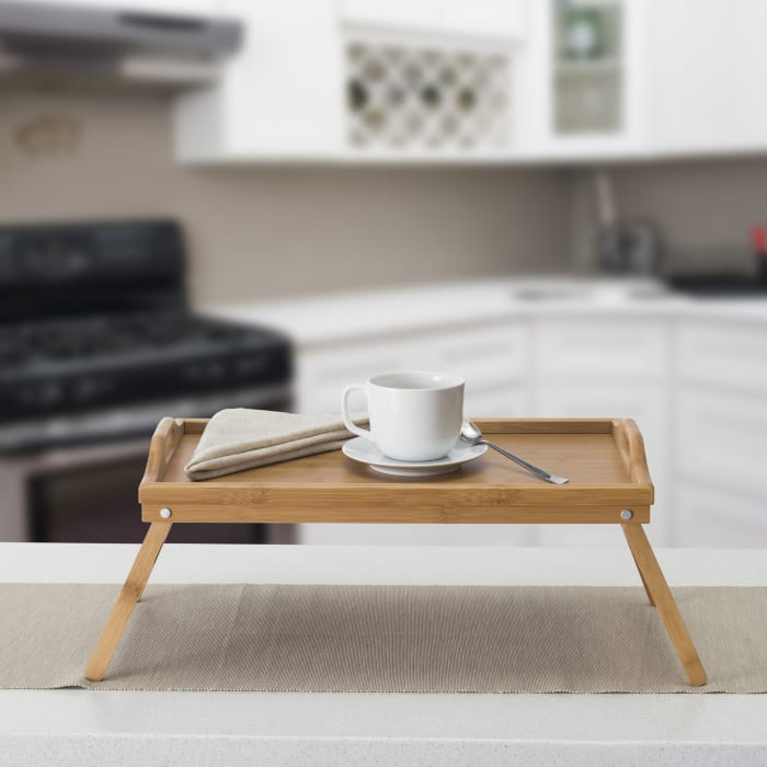 Multi-Purpose  Folding Rustic Pine Bed Tray with Cut-out Handles