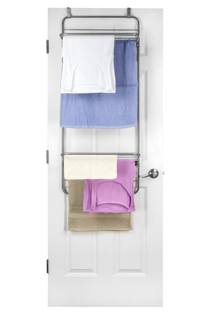 Gray, Steel Over the Door Towel Dryer Rack