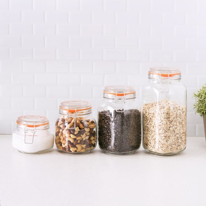 Glass Canisters, Set of 4