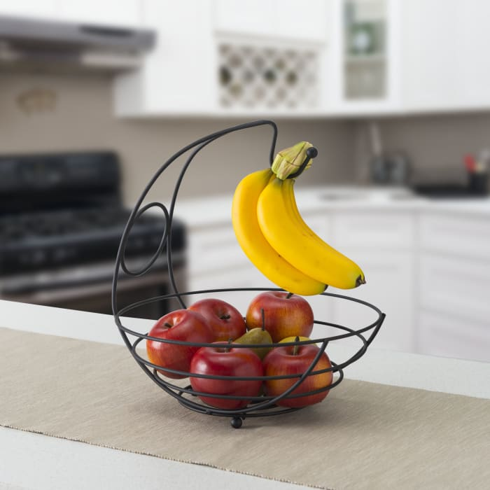 Wire Collection Black Fruit Bowl with Banana Tree, Black