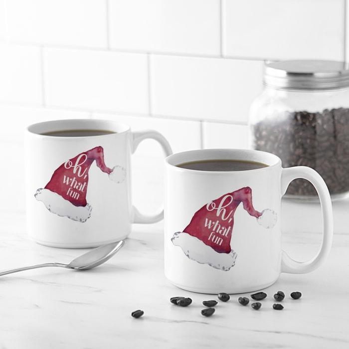 Oh What Fun Santa Hat 20 oz. Coffee Mug Set