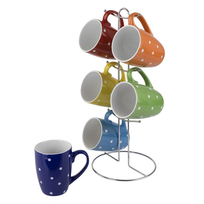 Polka Dog Mug set with Stand, Set of 6 Mugs