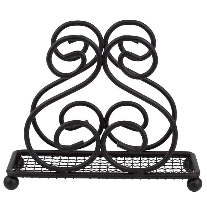 Scroll Collection Steel Napkin Holder, Black